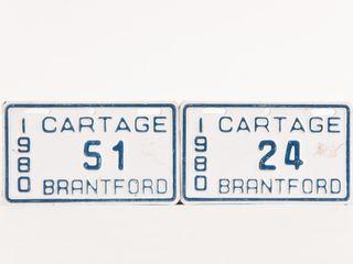 lOT OF 2 1980 BRANTFORD CARTAGE lICENSE PlATES