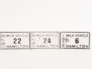 lOT 3 1970 S HAMIlTON MIlK VEHIClE lICENSE PlATES