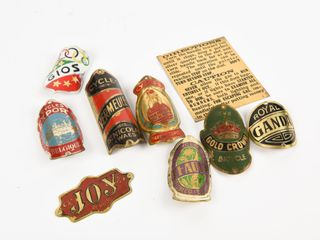 lOT OF 8   7 VINTAGE BRASS BICYClE TAGS