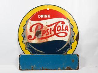 DRINK PEPSI COlA SST EMBOSSED ADVERTISING SIGN