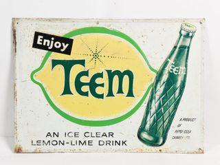 1964 ENJOY TEEM lEMON lIME DRINK SST EMBOSSED SIGN