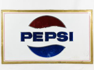 1970 PEPSI EMBOSSED SElF FRAMED SIGN