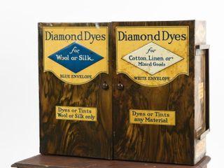 VINTAGE DIAMOND DYES 2 DOOR TIN EMBOSSED CABINET