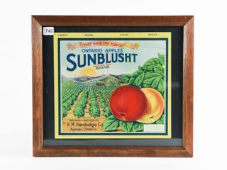 AYlMER ONTARIO APPlES SUNBlUSHT BRAND CRATE SIGN