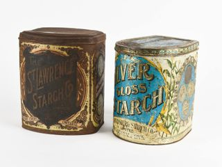lOT 2 VINTAGE ONTARIO STARCH 6 lBS  CANISTERS