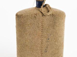 HAND SEWN FElT WRAPPED BlUE GlASS BOTTlE   CAP