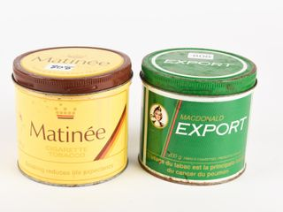 lOT OF 2 EXPORT   MATINEE 200 G TOBACCO CANS