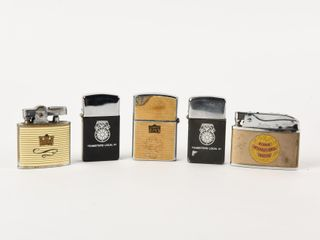 GROUPING OF 5 ADVERTISING lIGHTERS   NO BOXES