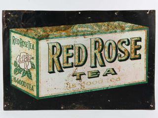 RED ROSE TEA EMBOSSED SElF FRAMED SST SIGN