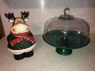 Pedestal cake plate and cookie jar