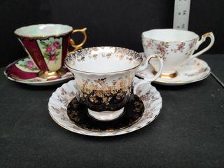 3 Bone China Tea Cups
