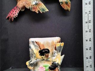 Wall Pocket & Two Bird Wall Hangers