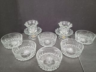 Six Dessert Dishes & 2 Glass Candle Holders