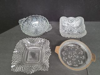 4 Assorted Glass Dishes, One Crystal