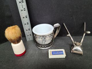 Vintage Hair Clipper, Shaving Mug & Brush, Blades
