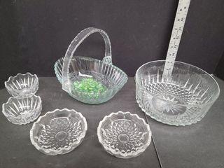 Glass Basket & Assorted Bowls
