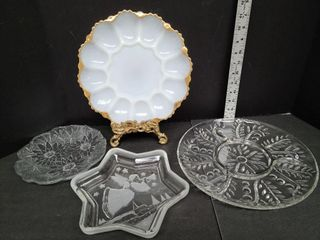 One Milk Glass & 3 Clear Glass Serving Dishes
