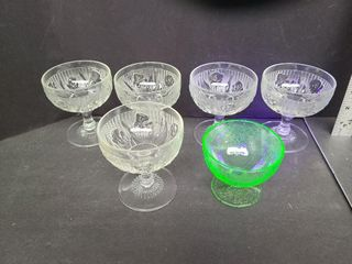 5 Iris & Herringbone, 1 Uranium Depression Glass
