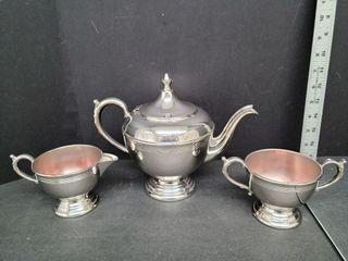 W.M.Mount E.P.On On Copper Tea Pot, Cream, Sugar