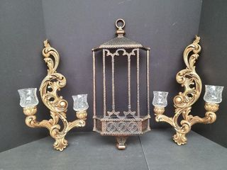 2 Resin Candle Wall Sconces & Copper Wall Pocket