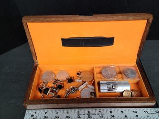 Men's Jewelry Box, Cuff Links, Tie Clips, Coins