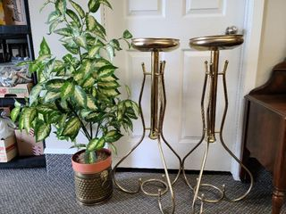 2 Brass Plant Stands, Brass Pot With Silk Plant