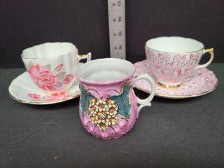 3 German & English Tea Cups & Two Saucers