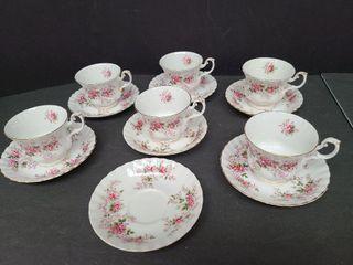 Royal Albert Lavender Rose 6 Cups & 7 Saucers