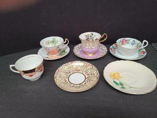 English Tea Cups & Saucers / 3 Sets & 3 Singles