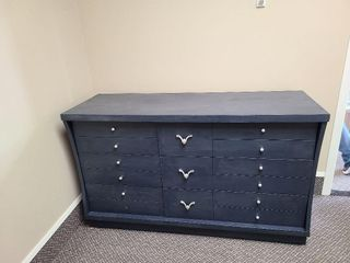 Wood Charcoal Blue Colored Dresser / Silver Knobs
