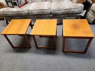 3 Piece Wood Nesting Tables, Teak?