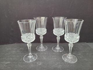 4 Crystal Long Stemmed Wine Glasses