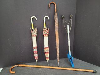 Cane, 3 Umbrellas & Reaching Stick