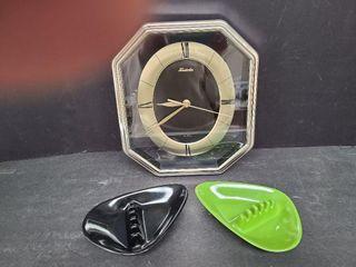 Forestville Clock & 2 Retro Ashtrays