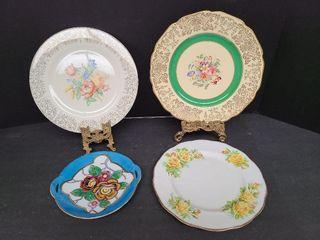 1 Noritake & 3 English Plates