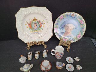 2 Royal Plates, Occupied Miniature Toby Mugs, etc