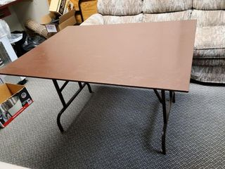 Painted Solid Wood Table With Metal Fold Legs
