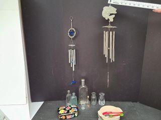 Misc. Bottles, Wind Chimes & Porcelain Trinket Box