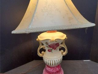Beautiful Signed Victorian Rose Transferware Lamp