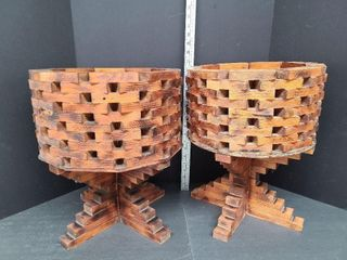 2 Vintage Handmade Wood Block Planters