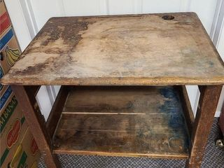 Antique School Desk With Lots Of Character