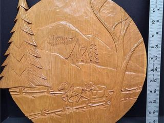 Wood Carved Horse & Sleigh Scene Wall Picture