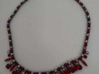 Sherman Red Carnival Glass Necklace