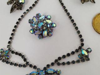 Blue Metallic Rhinestone Necklace & 3 Earrings