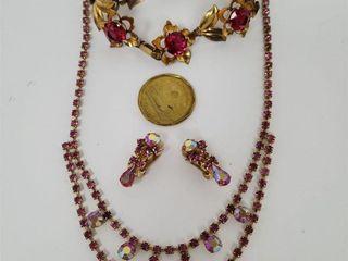 Pink Rhinestone Necklace, Earrings, GF Bracelet