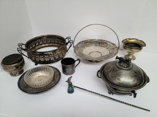 8 Pieces Silver Plate / Glass