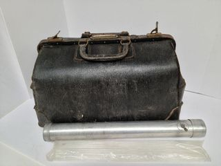 Old Veterinarian Bag / Steel Tube With Glass Rods