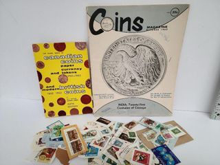 Two Coin Books & Used Canadian Stamps