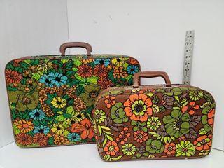 Funky Flowered 2 Piece Luggage Set