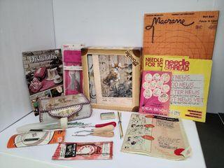 Assortment Of Craft Books & Needles